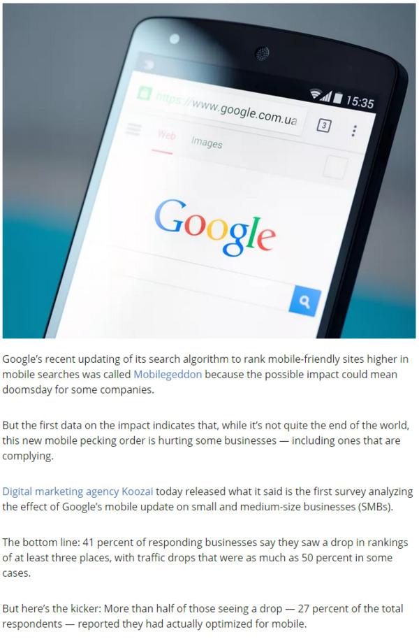 Here's how Google's Mobilegeddon is hittingSMBs - VentureBeat | The Marketing Technology Alert | Scoop.it