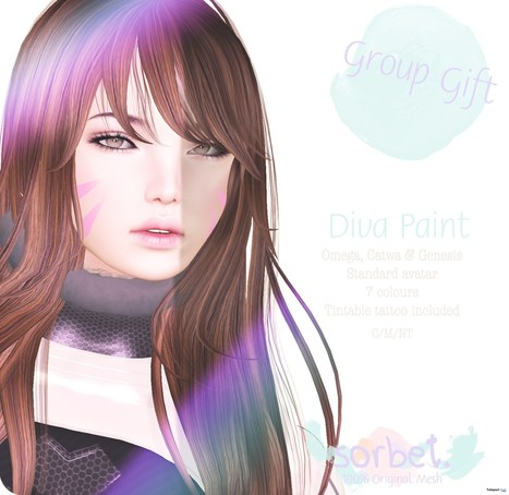 Diva Paint Face Tattoo with Mesh Head Appliers Group Gift by Sorbet | Teleport Hub - Second Life Freebies | Second Life Freebies | Scoop.it