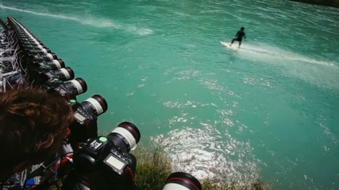 Using 50 Canon EOS 1D X cameras to create a ten second bullet time action sports clip