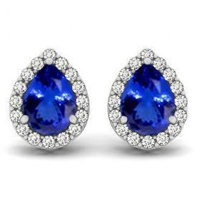 1.1cts Pear Tanzanite Earring With .256ctw Diamonds in 14K White Gold | Tanzanite Earrings | Scoop.it