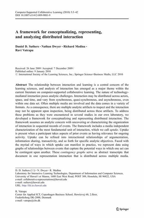 A framework for conceptualizing, representing, and analyzing distributed interaction - Springer | Daniel D. Suthers et alia, 2010 | Collaboration in online projects of students | Scoop.it