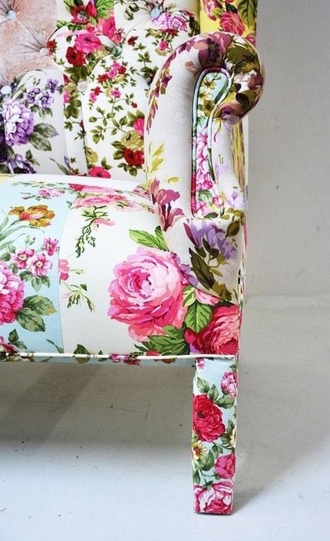 Vintage floral tissu d 39 ameublement art texti - Tissu ameublement vintage ...