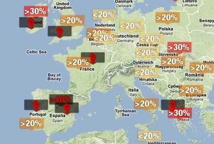 La carte du chômage des jeunes en Europe | L'ISEN International | Scoop.it