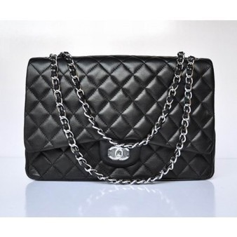 Chanel 2.55 Bag 47600 Black Lambskin With Silver Chain Perfect present | Chanel Handbags Outlet Online | Scoop.it