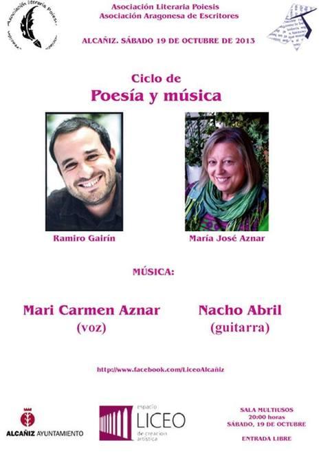 Poesía y Música en el Liceo, Sábado, 19 de Octubre, 20 h., Alcañiz, Teruel. | MARATÓN DE CITAS | Scoop.it