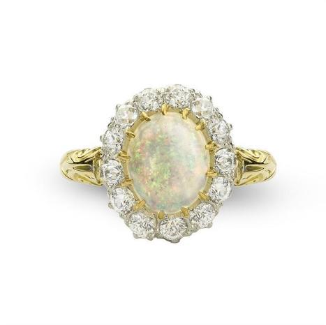 An opal and diamond cluster ring - Bentley & Skinner | Bentley And Skinner | Scoop.it