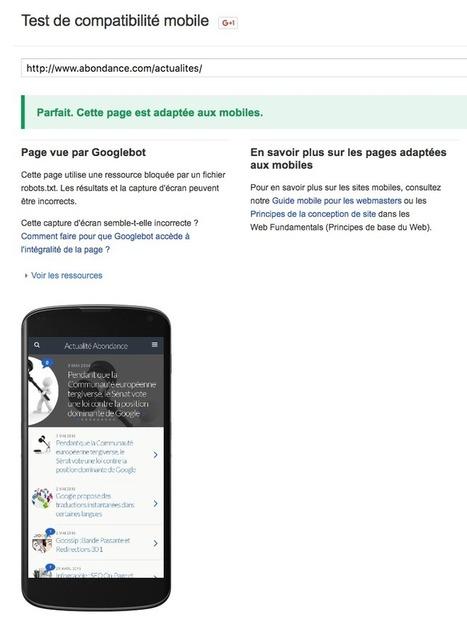 Google propose un nouveau module de test de compatibilité mobile - Actualité Abondance | Référencement Naturel on-site | Scoop.it