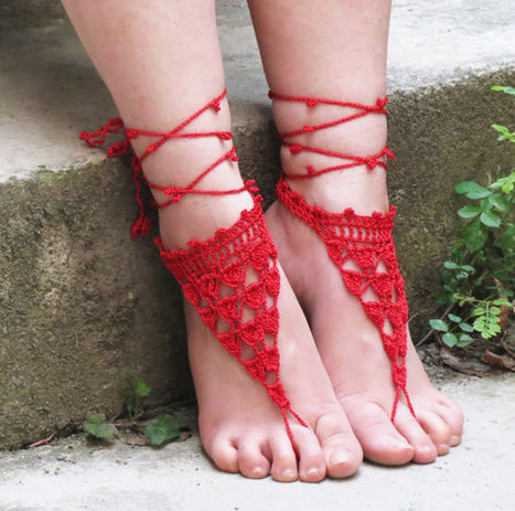 Barefoot sandles, Red Nude shoes, lace up sandals, Wedding Sandals, Sexy, Yoga, Anklet , Bellydance, Steampunk, Beach Wedding | fashion | Scoop.it