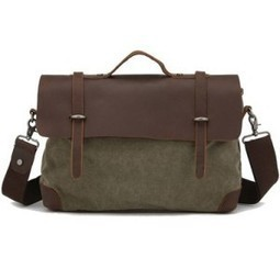 Kattee Canvas Real Leather Messenger Bag, Leisure Briefcase | The Modern Man Bags | Best Messenger Bags For Men | Scoop.it
