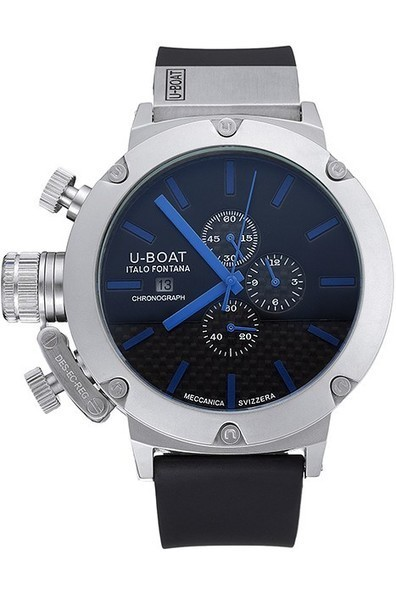 Replica U-Boat Italo Fontana Black Carbon Dial Blue Hour Marks Stainless Steel Case Rubber Bracelet-$285.00 | Men's & Women's Replica Watches Collection Online | Scoop.it