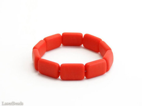 Orange pillow beads, Czech rectangle beads 15mm (10) Opaque flat frosted | darch | Scoop.it
