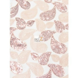 Teardrop Paisley Sequins Lace Fabric / Blush / Sold By The Yard | Fabric Shopping Online | Scoop.it