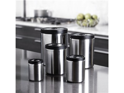 OXO® SteeL™ 5-Piece Press Top Canister Set | Cook Tools | Scoop.it