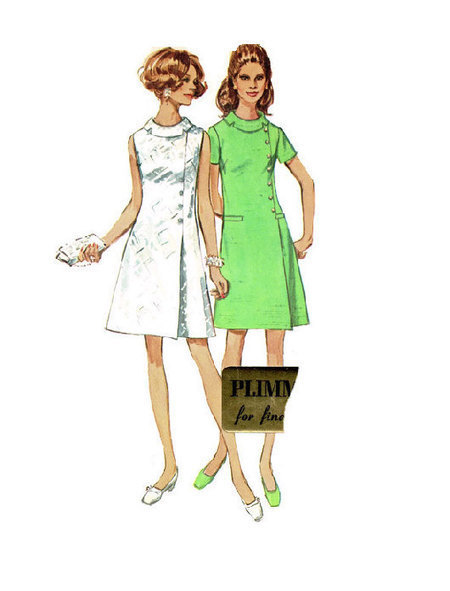 Retro 60s Mad Men Style Fashion Simplicity Sewing Pattern Dress Plus Size Full Figure Rolled Collar Off Side Closure Size 18 Bust 40 | Vintage Sewing Patterns | Scoop.it