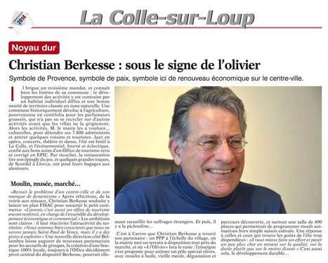 Christian Berkesse : sous le signe de l'olivier - Christian Berkesse, Élections municipales 2014 de la Colle-sur-Loup   Municipales 2014   Scoop.it