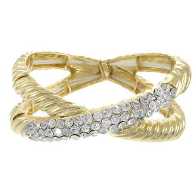 Crystal Pave Cable Twisted Stretch Bracelet For Women | Le Chic Boutique | Scoop.it