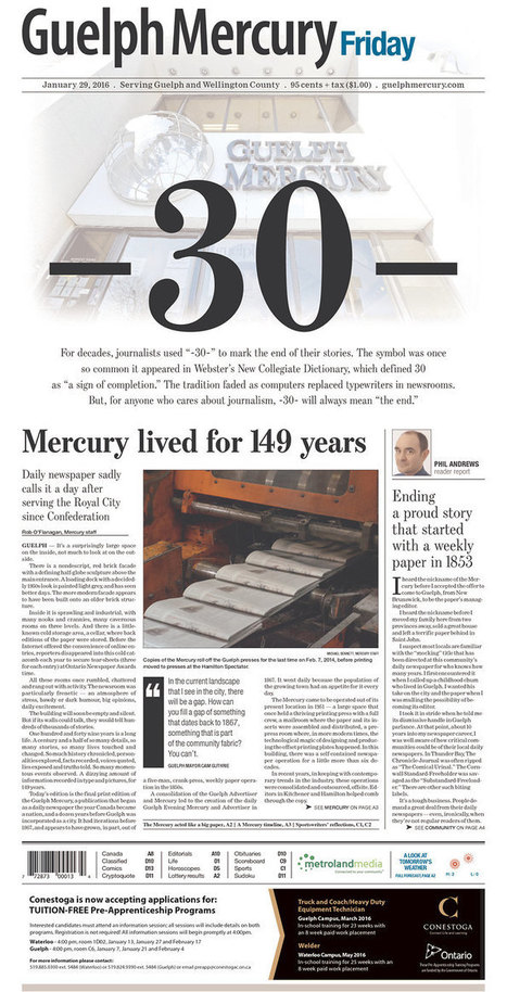 149-year-old Canadian newspaper's final front page is pretty much perfect | Longreads : stories, authors, craft | Scoop.it