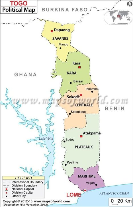 Political Map of Togo | Joanna's Offical Togo | Scoop.it