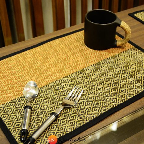 Placemats Table Mat Weaving Pattern – Green and Yellow - Set of 6 | wooden Kitchen Products and Accessories | Scoop.it