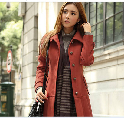 Cheap Slim Long sleeve single-breasted lapel woolen trench coat in women outcoat from women clothing on sightface.com | Fashion and Moda | Scoop.it