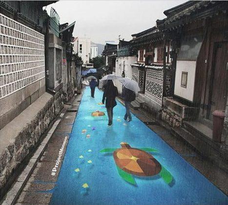 Project Monsoon – Du street art coloré qui apparait seulement quand il pleut | Graphisme - Illustration | Scoop.it
