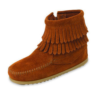 Double Fringe Side Zip - Shop Mens, Womens, Childrens Moccasins - The Moccasin Shop | TheMoccasinShop | Scoop.it