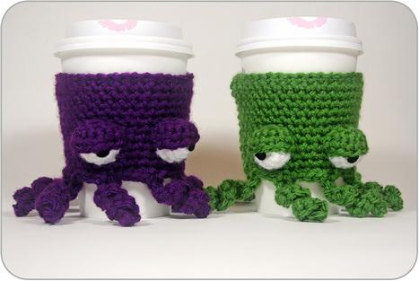 Free Pattern: Grumpy Octopus Coffee Cup Cozy | CrochetHappy | Scoop.it