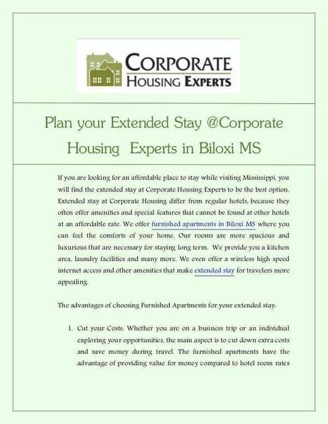 Corporate Housing with Extended Stay in Biloxi MS | Corporate Housing Experts | Scoop.it