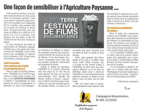 Le Festival Alimenterre au lycée agricole de Laval | Le lycée agricole de Laval | Scoop.it