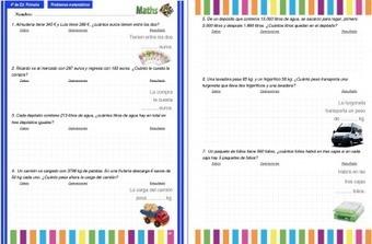 Recopilatorio de problemas para 4º de Primaria Interactivos ideales para PDI y en PDF Repasamos en Verano | desdeelpasillo | Scoop.it