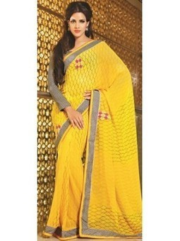 Aava Shaded Yellow Faux Georgette Saree with Blouse CSSK676 | online shopping | Scoop.it