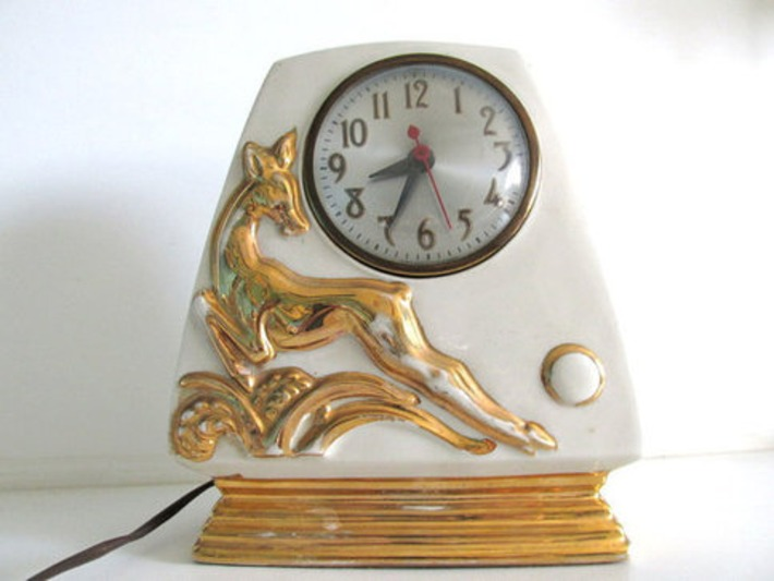 Art Deco Ceramic Clock, Green with Gold Deer   Antiques & Vintage Collectibles   Scoop.it