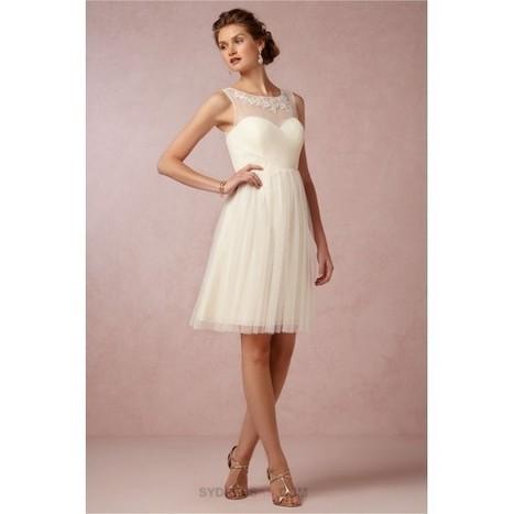 Elegant Short Knee Length A Line Tulle Cream Bridesmaid Dress V Back   dressmebridal   Scoop.it