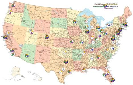USA - Major League Sports Teams | Modern Cartographer | Scoop.it