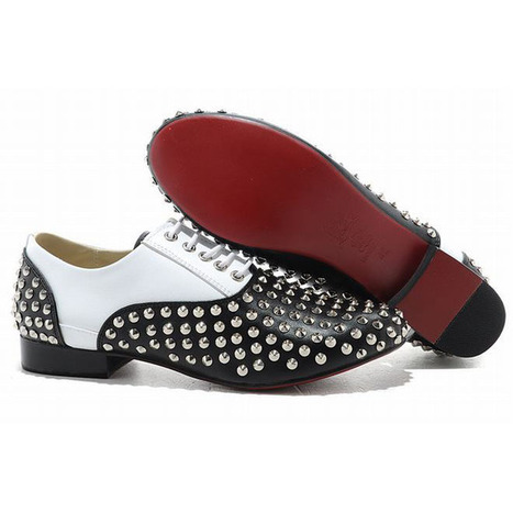 Black White Christian Louboutin Fred Flat Spikes Womens Flat Red Sole Shoes | share list | Scoop.it