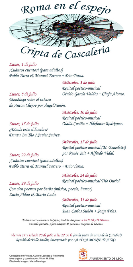 Ciclo En la Cripta (León capital de la cultura) poesía, música, humor y arte, Julio de 2013, León | MARATÓN DE CITAS | Scoop.it