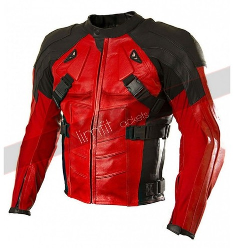 Deadpool Red and Black Biker Leather Jacket | Motorcycle Leather Jackets For Men and Women | Scoop.it