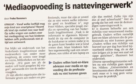 Mediaopvoeding is nattevingerwerk (TC Tubantia 15.10.2013) | Media Literacy | Scoop.it