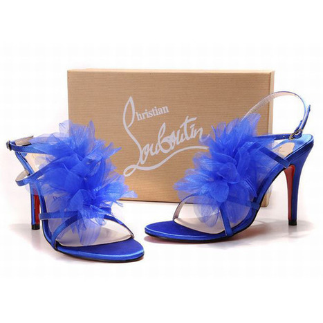 Christian Louboutin Petal 120mm Violet Blue Leather Lined Sandals | new and share style | Scoop.it