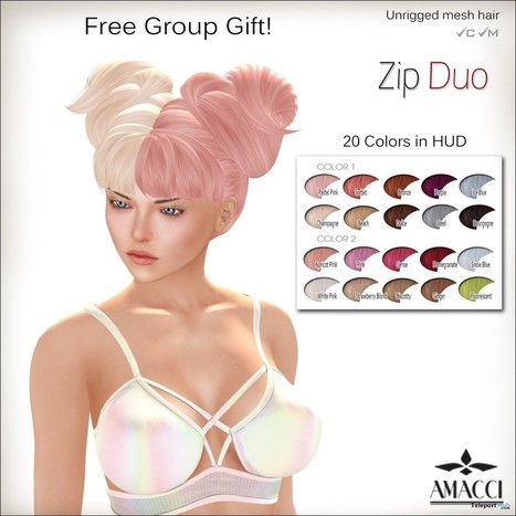 Duo Zip Hair 20 Colors Group Gift by Amacci | Teleport Hub - Second Life Freebies | Second Life Freebies | Scoop.it