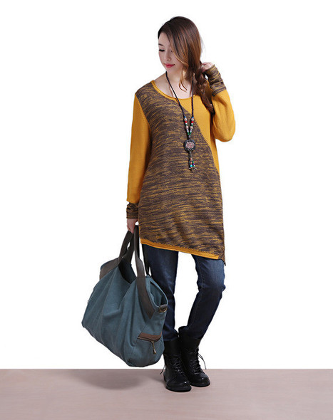 Asymmetric yellow stitching casual long-sleeved sweater | Ladies Fashion | Scoop.it