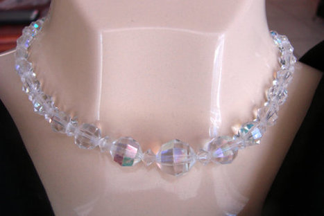 Mid Century Aurora Borealis Austrian Crystal Glass Bead Choker Necklace / Wedding Bridal / Jewelry / CIJ Sale 20% Off Coupon Code (CIJSALE1) | Vintage and Antique Jewelry & Fashion | Scoop.it