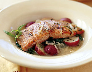 Seared Wild Salmon with New Potatoes and Dijon Broth Recipe | Epicurious.com | Food | Scoop.it