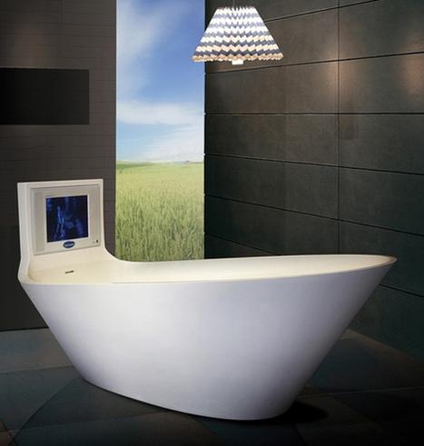 5 Cool Bathtubs with Built-In TVs | DigsDigs | Designer | Scoop.it