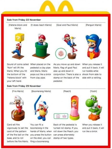 Super Mario Happy Meal Toys from Mcdonald's Japan: You Deserve a Break Today | All Geeks | Scoop.it