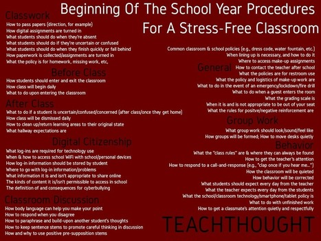 50 Beginning Of The School Year Procedures For A Stress-Free Classroom - | TeachThought | Scoop.it