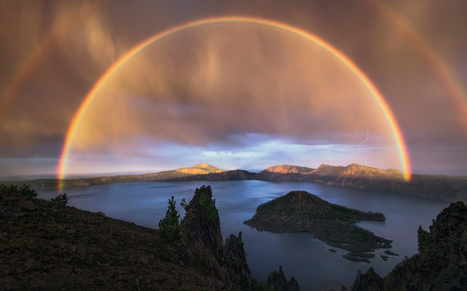 Five mile wide double rainbow during a thunderstorm 8000ft above sea level in Crater Lake National Park, Oregon | Interesting Photos | Scoop.it