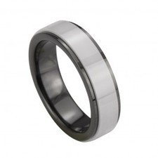 Black Ceramic Wedding Ring Inlay White Ceramic | I Love Tungsten Wedding Bands | Scoop.it