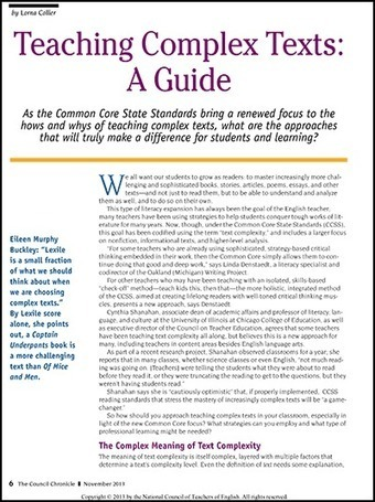 Teaching Complex Texts: A Guide - National Writing Project | College and Career-Ready Standards for School Leaders | Scoop.it