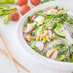 Edamame salad with lychee, coriander, mint & vermicelli and a chilli lime dressing | Vegetarian recipes and cooking | Scoop.it